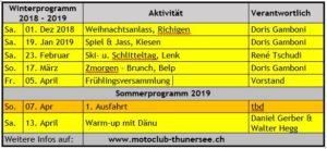 Winterprogramm 2018 - 2019