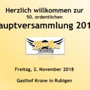 50. Hauptversammlung 2. November 2018